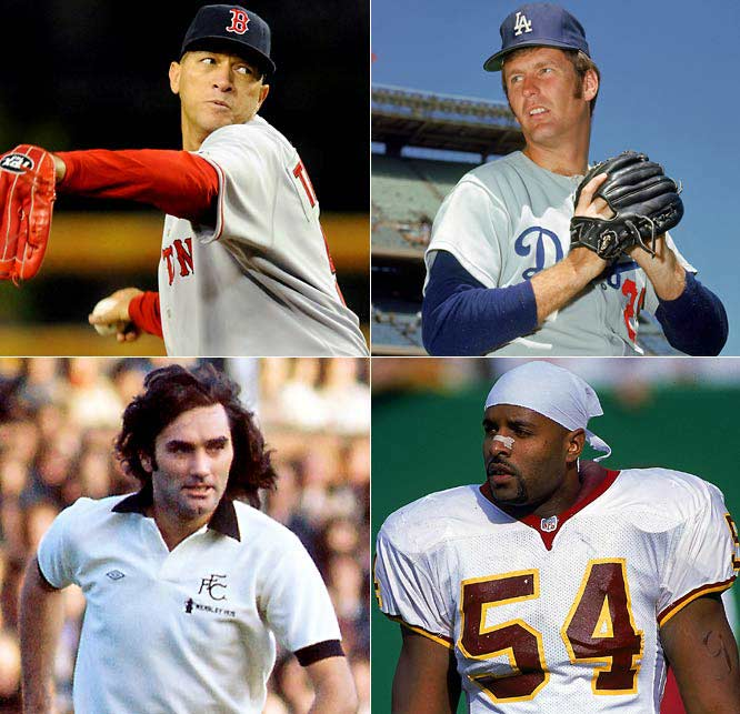 (Clockwise from top left) <br><br>Julian Tavarez (35) <br>Tommy John (65)<br>Greg Jones (34)<br>George Best (62)