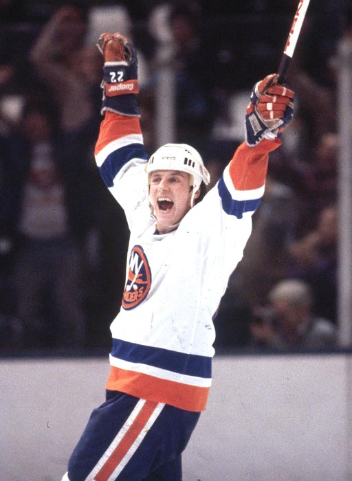 The New York Islanders score an overtime goal against the Philadelphia Flyers in Game 6 to capture their first of four consecutive Stanley Cup titles.