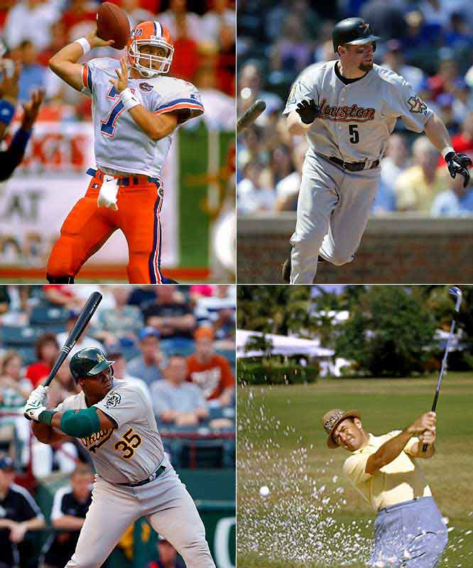 (Clockwise from top left)<br><br>Danny Wuerffel (1974)<br> Jeff Bagwell (1968)<br>Sam Snead (1912)<br>Frank Thomas  (1968)<br>