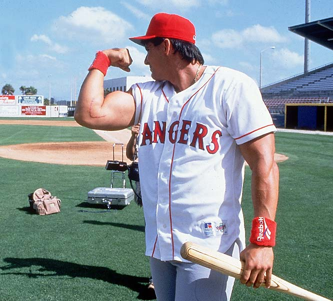 In a 15-1 loss to the Boston Red Sox, Texas Ranger OF Jose Canseco pitches the 8th inning and gives up three runs on two hits and three walks.