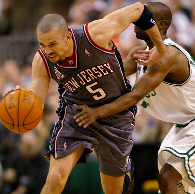 Jason Kidd becomes the first player in 35 years to record three triple-doubles in an NBA playoff series, and the New Jersey Nets finish off the Boston Celtics with a 96-88 victory in Game 6 of the Eastern Conference finals. Kidd joins Oscar Robertson (1963) and Wilt Chamberlain (1967) as the only players with three triple-doubles in a series.