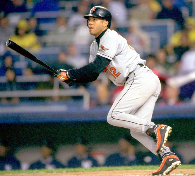 In his first season with the Orioles, Alomar hit .379 at Camden Yards and sported a .404 average on June 10. Five 0-fers in his next seven games dropped him to .380. After a chilly September (.221), Alomar finished at .328.