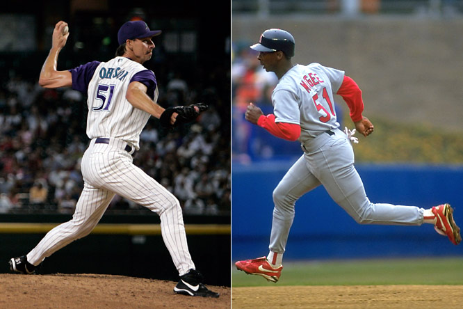 I have to disagree with Ichiro over Randy Johnson. Yes, Ichiro has been excellent for five-plus years, but that doesn't compare to Randy's 10-plus years of excellence.<br>-<i>Sports HX NYC</i><br><br>How can you not have Willie McGee as at least deserving consideration under No. 51?<br>-<i>TenRingsSTL</i>