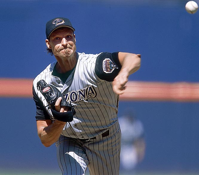 The 6-foot-10 Randy Johnson overpowered the NL from 1999 to 2002, winning four straight Cy Young awards. The last of those four seasons was his best. He won a career-high 24 games with a 2.32 ERA and 334 strikeouts and held batters to a .208 average.