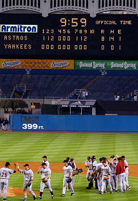 In perhaps the most bizarre no-hitter of all-time, the Astros used a record six pitchers -- Roy Oswalt, Pete Munro, Kirk Saarloos, Brad Lidge, Octavio Dotel and Billy Wagner -- to hold the Yankees hitless in Houston's 8-0 victory.