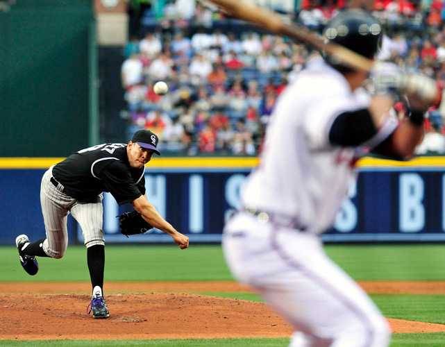 Ubaldo Jimenez pitched the first no-hitter in Rockies history, dominating the Braves in a 4-0 victory. Jimenez walked six -- all in the first five innings -- and struck out seven. He was helped by Dexter Fowler's diving catch on Troy Glaus' drive to left-center field in the seventh inning.