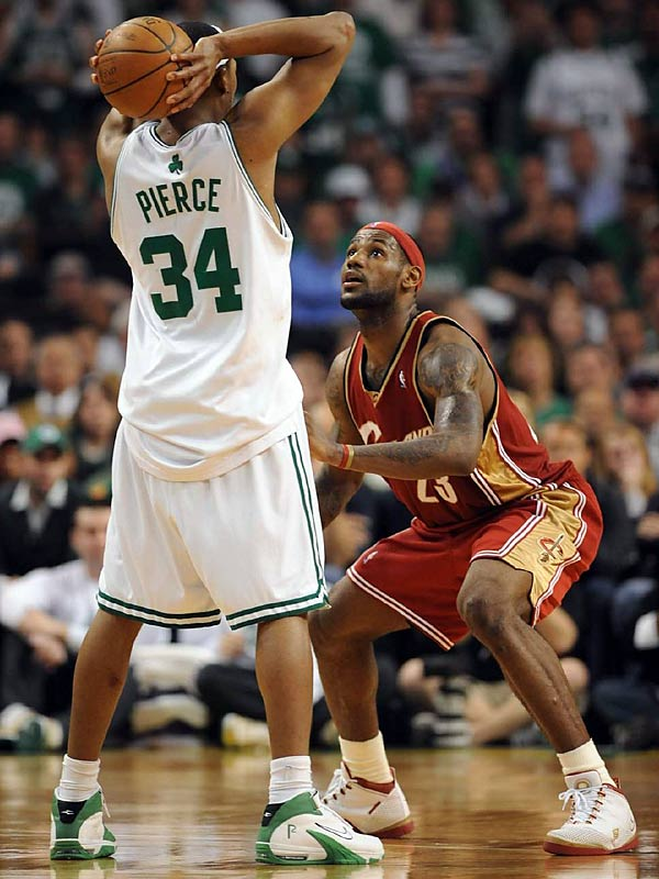Paul Pierce (41 points) and LeBron James (45) went back and forth in a duel reminiscent of Larry Bird vs. Dominique Wilkins in Game 7 of the conference semifinals 20 years earlier. Pierce's Celtics prevailed 97-92 to wrap up a series in which the home team won every game. The Celtics went on to win the championship, while the loss spurred Cleveland to give LeBron more offensive help by acquiring Mo Williams in the offseason.