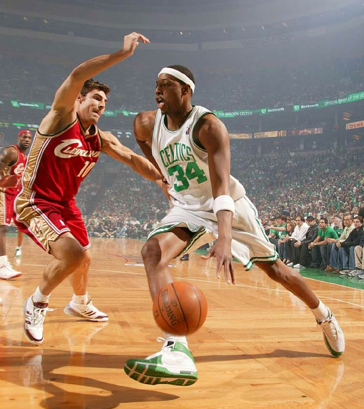 Paul Pierce of the Celtics getting to the baseline ahead of defender Wally Szczerbiak of the Cavaliers. Pierce finished with 41 points, including two free throws which iced Game 7.