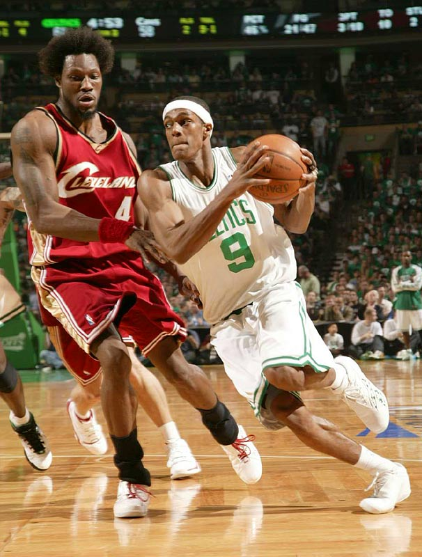 Rajon Rondo of the Celtics driving through the lane as Ben Wallace of the Cavaliers defends. Rondo scored eight points.