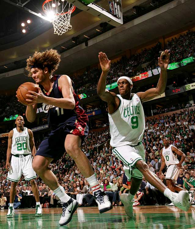 Anderson Varejao grabs one of his 10 rebounds in the Cavs' Game 2 loss in Boston.
