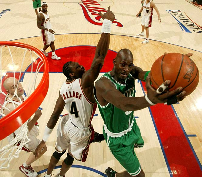 Kevin Garnett -- who had 17 points and nine rebounds -- drives past Ben Wallace in the Celtics' Game 3 loss in Cleveland.