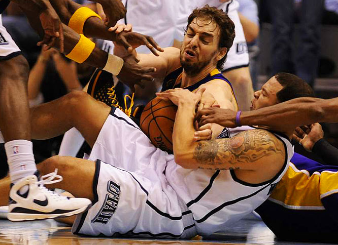 L.A.'s Pau Gasol and Utah's Deron Williams fight for a loose ball in Utah's 104-99 win in Game 3 in Salt Lake City.