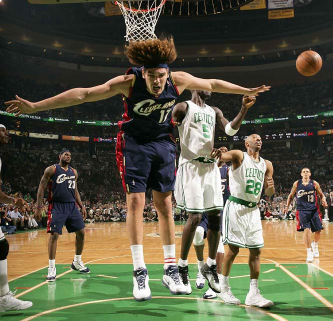 Cavs forward Anderson Varejao is shoved under the basket and away from a rebound during game 2. Varejao had three points and 10 rebounds in the Cavs' loss.