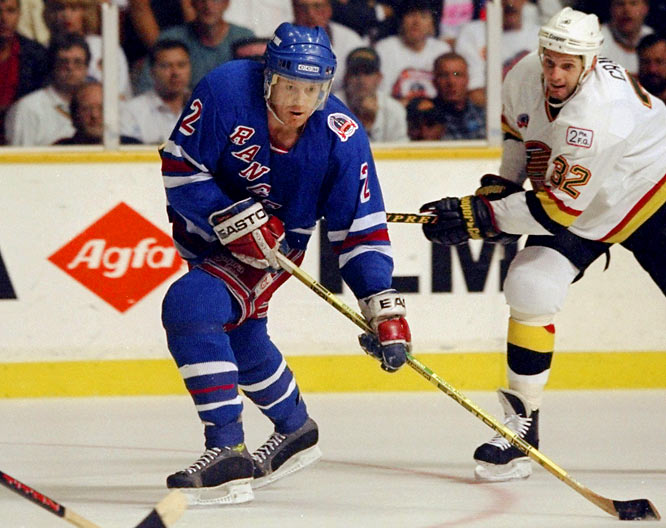 The Rangers' 54-year Cup drought finally ended thanks to the gritty leadership of Mark Messier and stingy goaltending by Mike Richter, but it was classy blueliner Leetch who won the Smythe after scoring 11 goals and 34 points in only 23 games. His 11 points (5 goals, 6 assists) vs. Vancouver still stand as the mark (shared with Paul Coffey, 1985) for a seven-game Cup final. Leetch is one of only four non-Canadians to win the Smythe, the others being Detroit's Nicklas Lidstrom (Sweden) in 2002 and Henrik Zetterberg (Sweden) in 2008, and Evgeni Malkin (Russia) in 2009.
