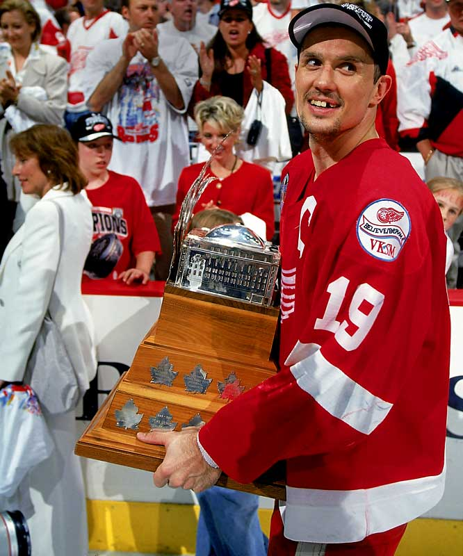 The Red Wings' long, hard climb from dreadful mediocrity finally ended with a Cup in 1997, but it was goaltender Mike Vernon who won the MVP hardware. The following season, Detroit's legendary captain masterfully led the way with 24 points, including 18 assists, in 22 games. Yzerman is one of six team captains who have won the Smythe. The others: Scott Niedermayer, Mario Lemieux, Wayne Gretzky, Joe Sakic and Jean Beliveau.