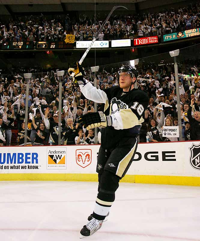 Acquired by the Penguins at the February trade deadline for his firepower, winger Marian Hossa delivered by scoring two goals, including the series-winner at 7:10 of overtime, in Game 5.
