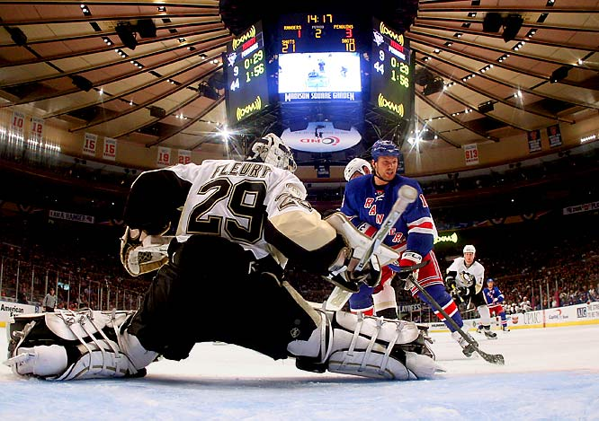 The Broadway Blueshirts hoped their veteran-led lineup and the distraction factor of notorious agitator Sean Avery (16) would be enough to upset the promising young Penguins. Unfortunately for New York, goaltender Marc-Andre Fleury (2-0 shutout in Game 2) continued to show why Pittsburgh chose him first overall in 2003. Avery ended up in the hospital with a lacerated spleen suffered in Game 5.