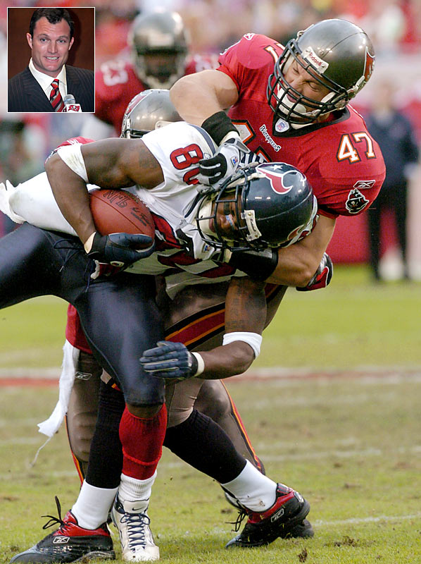 Along with a core of young players, including Warrick Dunn, Mike Alstott, Warren Sapp and Derrick Brooks, John Lynch helped turn the Buccaneers from a laughingstock into Super Bowl champs. The nine-time Pro-Bowl safety announced his retirement after 15 seasons in the NFL (11 in Tampa and four in Denver), during which he recorded 1,277 tackles and 26 interceptions in 224 regular-season games.