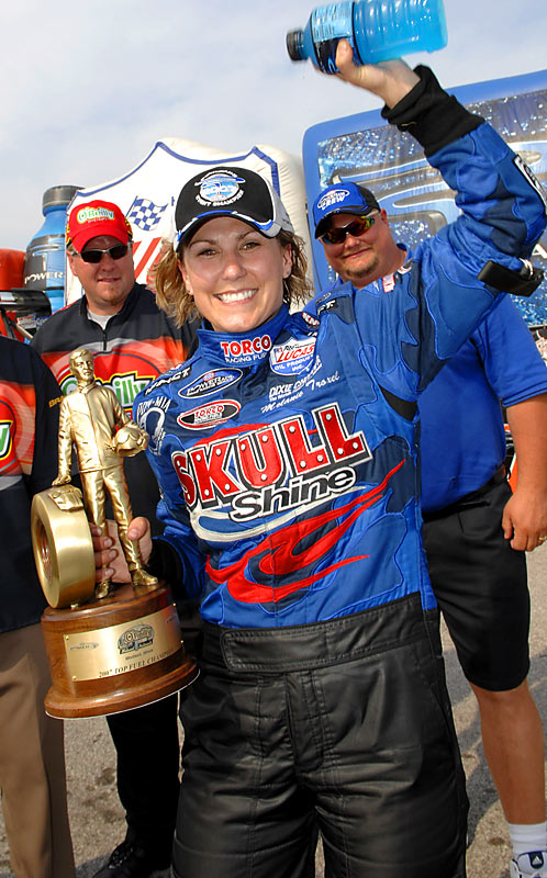 Named the Sportswoman of the Year in 2007 by the Women's Sports Foundation, Troxel won two Top Fuel events last season and led the POWERade Series point standings through the first 12 races. She was nominated for two ESPY awards in 2006 (best driver and best female athlete).  With a May 20 victory in the O'Reilly Thunder Valley Nationals, she became the first woman to win NHRA races in both the Funny Car and Top-Fuel classes.