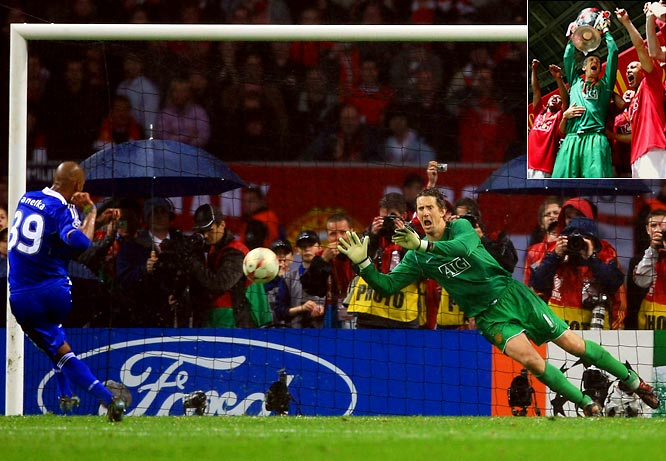 Goalkeeper Edwin van der Sar denied Nicolas Anelka moments after Chelsea captain John Terry had missed the chance to win when his shot hit the post. That series of events helped nail the Champions League title for Manchester United in penalty kicks.