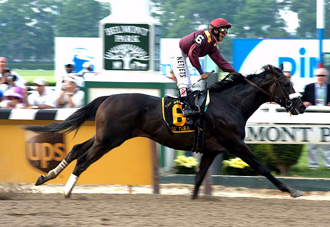 The moment of victory for Da' Tara and Jockey Alan Garcia at the 2008 Belmont Stakes as the pair denied Big Brown a Triple Crown.