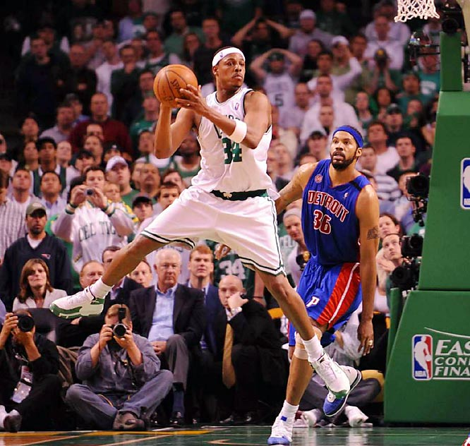 Pierce is just as effective at small forward as he is at shooting guard. He is one of the best in the league at creating his own shot and getting to the free-throw line. The six-time All-Star ranks sixth on the Celtics' all-time scoring list.