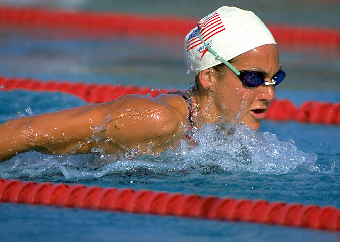 The only Stanford swimmer to win two NCAA Swimmer of the Year awards, Summer Sanders also won individual NCAA titles and four relay championships while helping Stanford win the national championship in 1992. At the Barcelona Olympics that year, she won a gold medal in the 200-meter butterfly and the 400-meter medley relay, while winning a silver and bronze medal in the 200-meter individual medley and 400-meter individual medley, respectively.