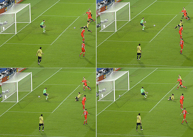 Andrés Iniesta hooked up with Barcelona teammate Xavi to open the scoring in Spain's semifinal meeting with Russia. When Iniesta fired a shot toward the far post from outside the area, Xavi slipped into the box and rocketed the ball past Russia keeper Igor Akinfeev -- an emphatic redirection to give Spain a 1-0 lead on its way to the Euro 2008 final.