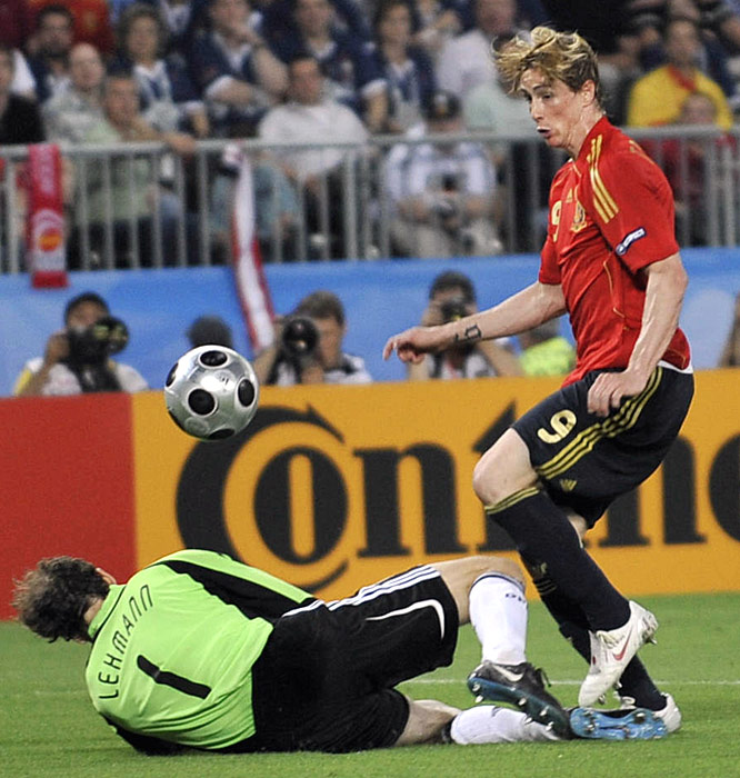 Fernando Torres sneaks Spain's lone goal past German goalkeeper Jens Lehmann in the 38th minute.