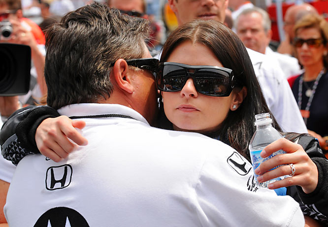 The first female Indy car race winner, Danica Patrick gives her father, T.J., a quick embrace before the Indianapolis 500.