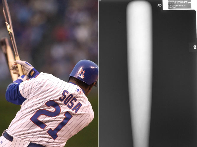 A day after Sammy Sosa's bat exploded, exposing its corked center, the remaining 76 bats from his locker and his five bats housed at the Hall of Fame are X-rayed and ultimately deemed cork-free.