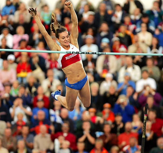 Russia's Yelena Isinbayeva holds the world record for women in the pole vault, clearing 16-5 1/4 three years ago in Lausanne.