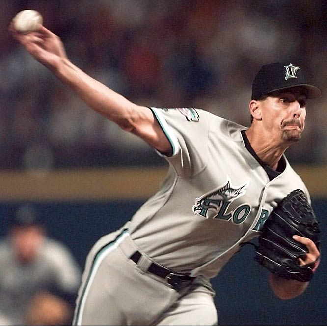 Marlins' pitcher Kevin Brown no-hits the Giants but misses a chance for a perfect game when he hits Marvin Benard with two out in the eighth inning of a 9-0 victory.