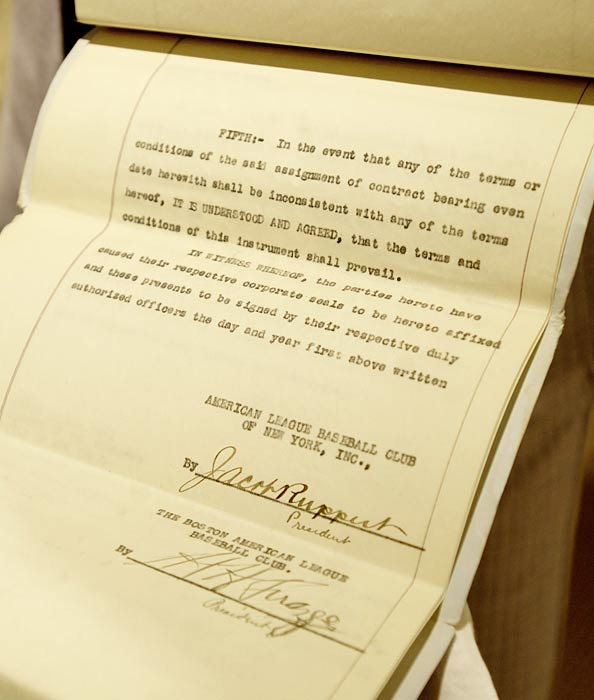 Gotta Have It Collectibles pays $996,000 for the contract that sold Babe Ruth to the New York Yankees. The cost to purchase the five typed pages is nearly 10 times the value New York paid to get the emerging 'Sultan of Swat.'