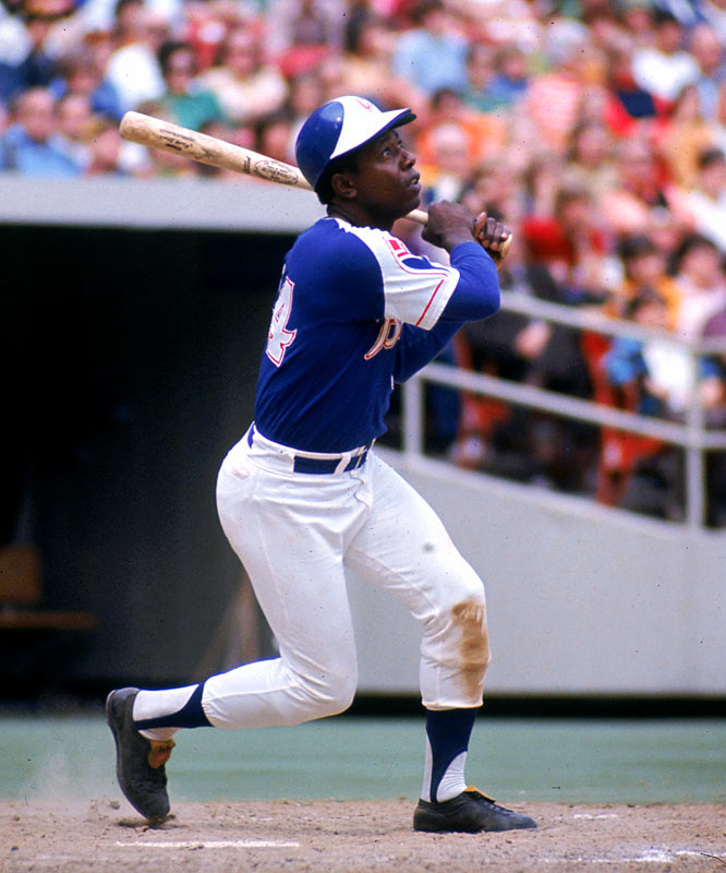 Hank Aaron hits his 649th round-tripper, passing Willie Mays into second place on the career home run list.