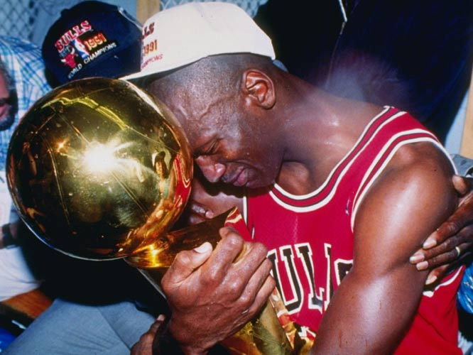 The Chicago Bulls beat the Los Angeles Lakers in five games, giving Michael Jordan his first of six championship rings.