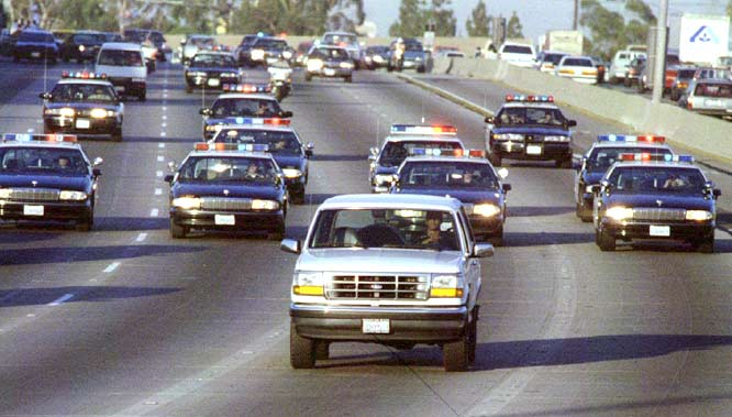 In one of the most surreal scenes in recent history, O.J. Simpson leads the police on a slow-speed chase down Interstate 405 in southern California. Simpson, who was being driven by friend Al Cowlings, was accused of killing his ex-wife Nicole Brown Simpson and her friend Ronald Goldman.