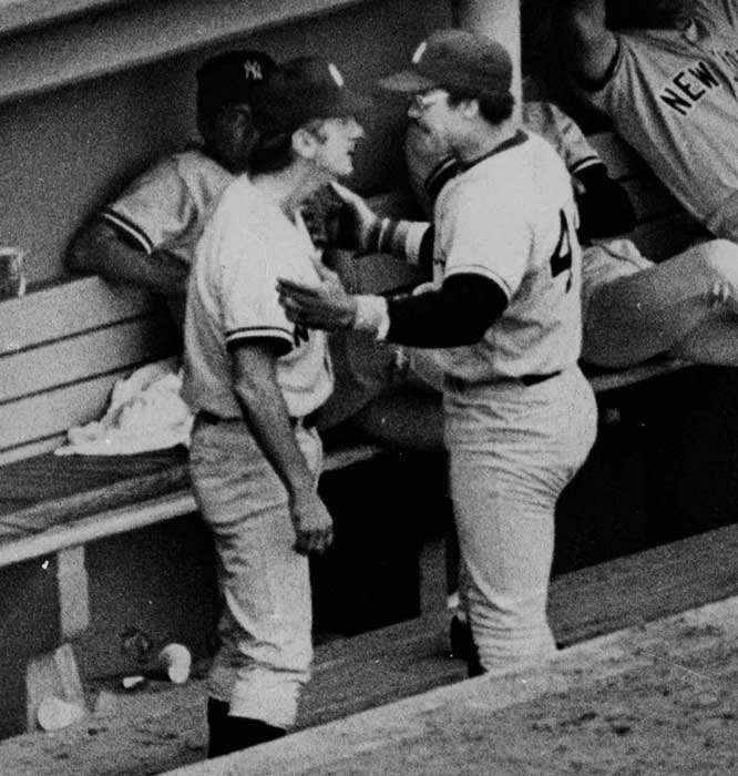 Billy Martin and Reggie Jackson get into a dugout altercation after Martin pulled Jackson off the field in mid-inning for failing to hustle on a ball hit to the outfield. Also, on this day in 1979, Billy Martin returned to the dugout to manage the Yankees for second time.