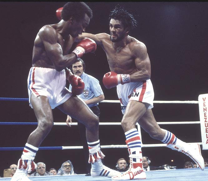 Roberto Duran takes WBC welterweight title from Sugar Ray Leonard at Olympic Stadium in Montreal by unanimous decision.