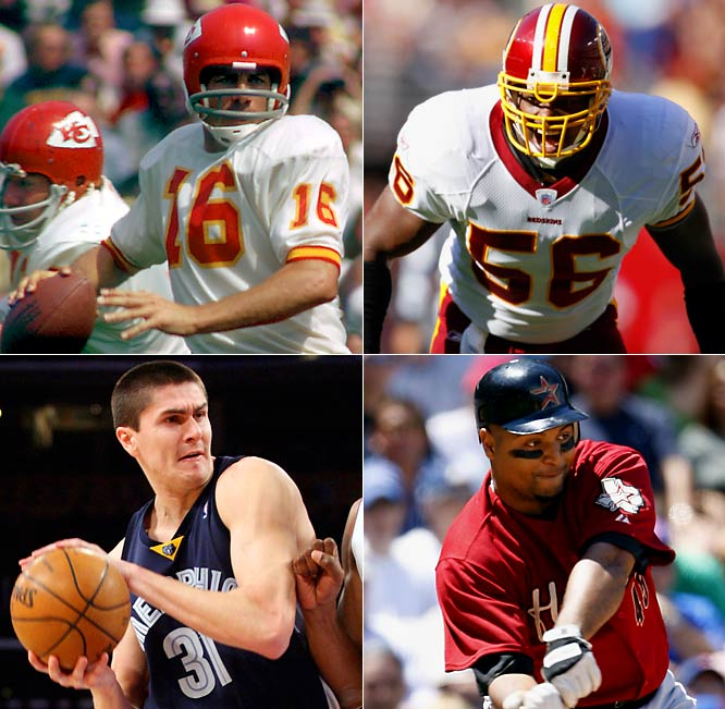 (Clockwise from top left) <br><br>Len Dawson (1935)<br>LaVar Arrington (1978)<br>Carlos Lee (1976)<br>Darko Milicic (1985)  <br>