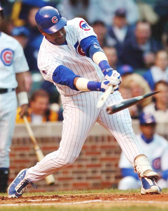 Sammy Sosa breaks a bat on a groundout against Tampa Bay. When the bat shatters, cork flies out and Sosa becomes the subject of an MLB investigation