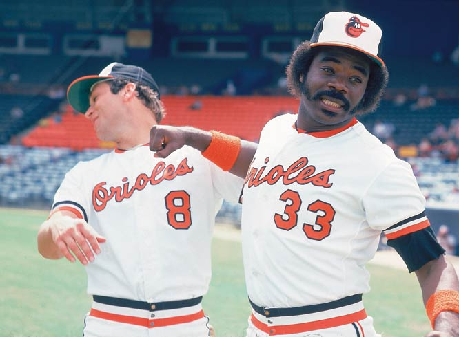 Indians' designated hitter Eddie Murray (pictured here with Cal Ripken Jr. as an Oriole) collects his 3000th career hit off Mike Trombley to become the 20th player to accomplish the feat. Murray joins Pete Rose as only the second switch-hitter to reach the milestone.