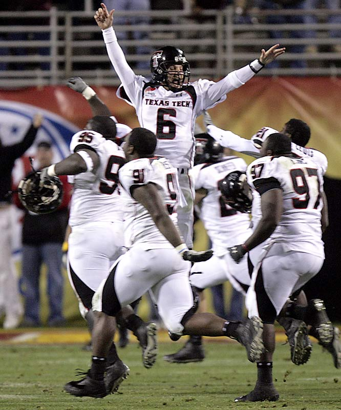 Currently the biggest comeback in NCAA Division I bowl game history, the Red Raiders trailed 38-7 in the third quarter when Tech quarterback Graham Harrell got into a rhythm. He threw two touchdown passes and rushed for another to pull his team to within 10. In the fourth quarter, Tech's defense forced three consecutive three-and-outs and a fumble, which led to another touchdown, and kicker Alex Trlica made a 52-yard field goal as time expired to send the game into overtime. Minnesota scored a field goal, but Tech answered with Shannon Wood's third touchdown of the day to win the game 44-41. Harrell finished with 445 passing yards and the MVP award.