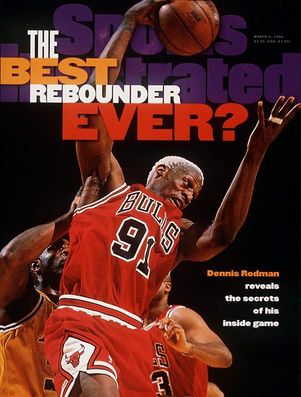 Though more known for his flamboyant off-court lifestyle, Rodman was a rebounding machine and terrific one-on-one defender who won five NBA titles. The tattooed pogo stick helped lead Detroit's Bad Boys to crowns in '89 and '90, then joined the Bulls for their second three-peat ('96-'98). At 6-foot-8, Rodman was arguably the greatest rebounder of all time for his size.