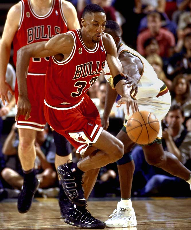 Known as Michael Jordan's sidekick, Pippen was a force in his own right on the defensive end. The 6-8 forward used his long arms and athleticism to raid passing lanes and stifle numerous playoff foes, most famously Magic Johnson in the '91 Finals. Pippen still hold the all-time playoff record for career steals with 395, 19 more than the runner-up, Jordan.