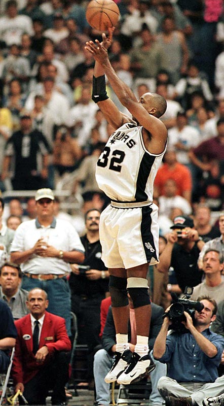 It's still known as the Memorial Day Miracle. With the Spurs trailing by a point late in Game 2 of the '99 Western Conference finals, Sean Elliott took an inbounds pass, tiptoed along the sideline and nailed a three-pointer with nine seconds left to lift San Antonio to the victory. The incredible shot shifted momentum of series and sent the Spurs on to the first of their four NBA titles in nine years.