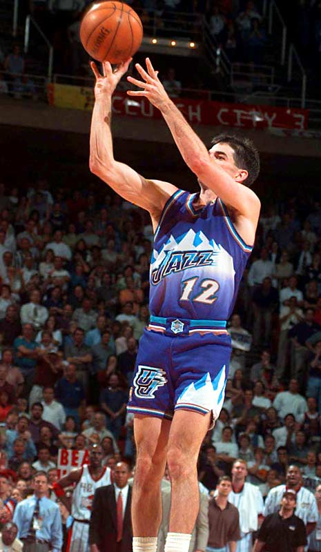 John Stockton could do more than drop dimes and rack up steals. With the Jazz trailing in the final seconds of Game 6 of the '97 Western Conference finals, the NBA's all-time career assists and steals leader sank a three-pointer over Charles Barkley at the horn to vanquish the Rockets and send Utah on to the first of two straight Finals appearances.