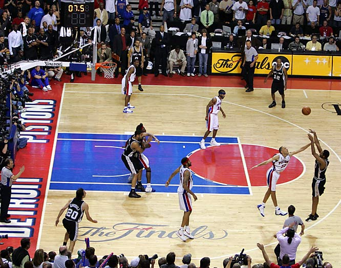 Just three years after his heroics in Sacramento, Big Shot Rob was up to his old tricks. With his Spurs trailing by two late in OT of Game 5 of the '05 Finals in Detroit, Rasheed Wallace left Horry to double Manu Ginobili in the corner. Bad decision. Ginobili fired the ball to Horry beyond the arc, who drained it to give San Antonio a 96-95 victory and a 3-2 series lead en route to the third of its four NBA titles.