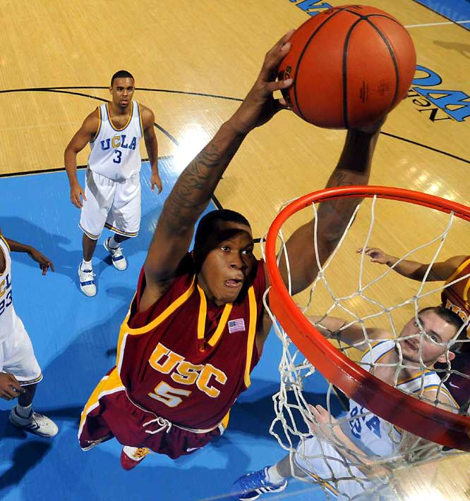 A 21-year-old freshman, Jefferson used his mid-range game and explosivie finishing ability to shoot 57.5 percent from the field last season. The 6-8, 215-pound Jefferson will have to expand his range to play small forward in the NBA; he attempted only eight three-pointers at USC.