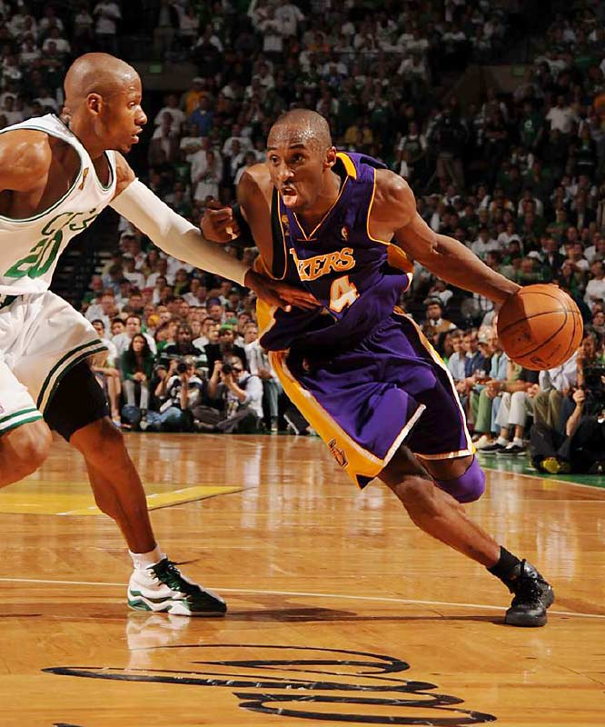Kobe Bryant scored 24 points on only 9-of-26 shooting from the field against Ray Allen and the Celtics.